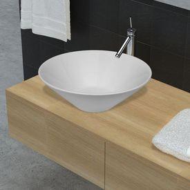 Chiuvetă de baie din ceramică, Alb