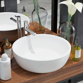 Chiuvetă de baie din ceramică, rotundă, 42 x 12 cm, alb