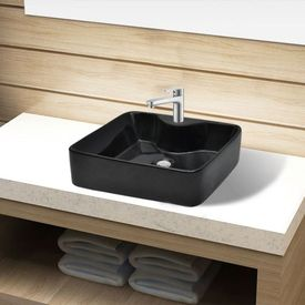 Chiuvetă de baie pătrată din ceramică cu gaură pentru robinet, negru