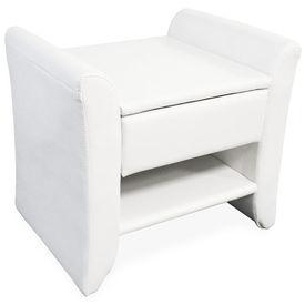 Corium® Noptiera eleganta din imitatie de piele - 47x37x44cm - alb