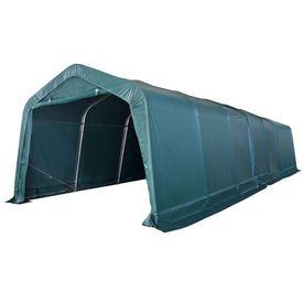 Cort portabil pentru animale 3,3 x 9,6 m PVC Verde închis