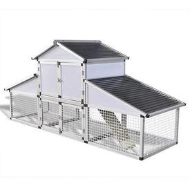 Coteț pentru păsări din aluminiu cu țarc și cutie pentru cuibar