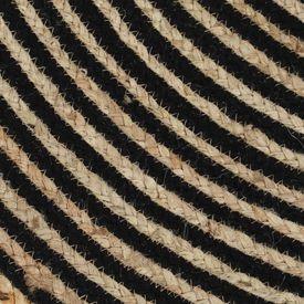 Covor manual cu imprimeu spirală, negru, 150 cm, iută