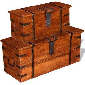 Cufăr de depozitare, lemn esență tare, 2 buc.