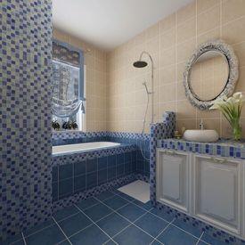 Dale Sticlă Mozaic Albastru-Alb 30 buc 2,7 mp