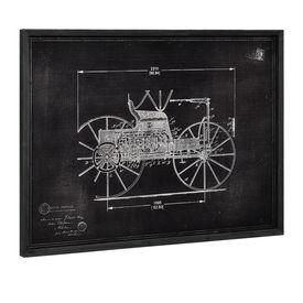 Design fotografie de perete pe placa de aluminiu Modell 11- masina epoca (desen tehnic), 60x80x2,8cm, cu rama lemn