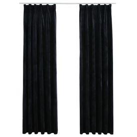 Draperii opace, 2 buc., negru, 140x225 cm, catifea, cu cârlige