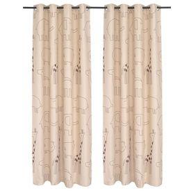 Draperii opace pentru camera copiilor, 2 buc, 140x240 cm, bej