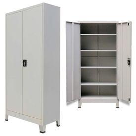 Dulap de birou cu 2 uși din oțel 90x40x180 cm, gri