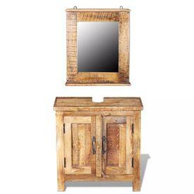 Dulap de chiuvetă cu oglindă din lemn masiv de mango