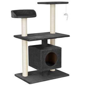 [en.casa]® Mobilier pisica - Sisal pisica cu jucarii si culcus 95 cm (culoare gri)