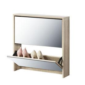 [en.casa] Pantofar Toni, 67 x 63 x 17 cm, PAL melaminat/ oglinda, Sonoma stejar, cu 2 compartimente depozitare, 6 perechi pantofi