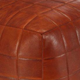 Fotoliu puf, arămiu, 40 x 40 x 40 cm, piele naturală de capră