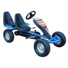 Kart pentru copii cu pedale, două locuri și 2 autocolante, Albastru
