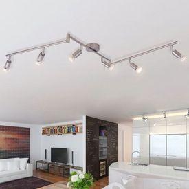 Lampă de tavan din nichel satinat cu 6 spoturi LED