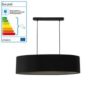 Lampa suspendata decorativa Kate, 2 x E27 ,60W, 135 cm, metal/textil, negru, pentru dormitor