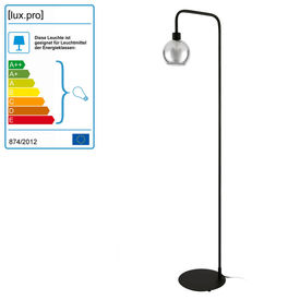 Lampadar Auckland, 155 cm, 1 x E27, 60W, metal/plastic, negru/transparent, pentru sufragerie, dormitor