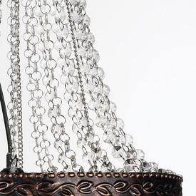 Lustră candelabru cu cristale și aspect antichizat, maro