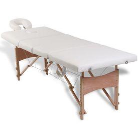 Masă de masaj pliabilă 4 zone cadru de lemn + set accesorii