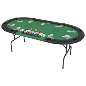 Masă de poker pliabilă în 3, pentru 9 jucători, oval, Verde