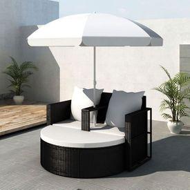Mobilier grădină din poliratan cu parasolar, Negru