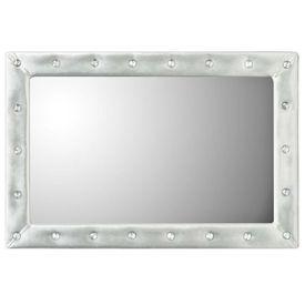 Oglindă de perete, piele artificială, 60x90 cm, argintiu lucios