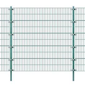 Panou gard cu stâlpi, fier, verde 6 x 2 m