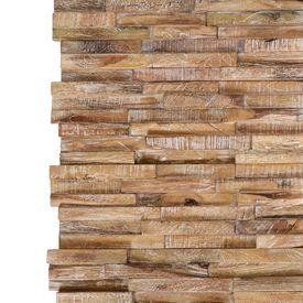 Panouri placaj de perete 3D, 10 buc, lemn masiv de tec, 1 m²