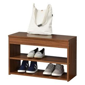 Pantofar AANF-6403, 70 x 30 x 45cm, PAL melaminat, culoarea lemnului de nuc cu 2 rafturi si un compartiment depozitare acoperit