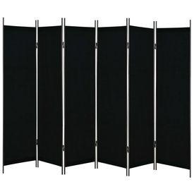 Paravan de cameră cu 6 panouri, negru, 300 x 180 cm