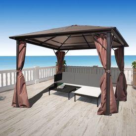 Pavilion cu perdea, maro, aluminiu, 300 x 300 cm
