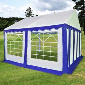 Pavilion de grădină PVC 4 x 4 m Albastru și Alb