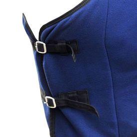 Pled lână cu chingi, 155 cm, albastru