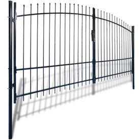 Poartă de gard cu uși duble, cu vârfuri de suliță, 400 x 225 cm