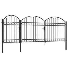 Poartă de gard de grădină cu arcadă, negru, 1,75 x 4 m, oțel