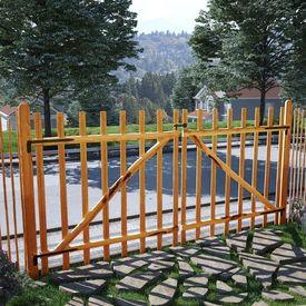 Poartă dublă de gard, lemn de alun tratat, 300x150 cm