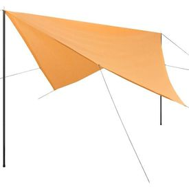 Prelată umbrar cu stâlpi, din HDPE, pătrată, 5x5 m, bej