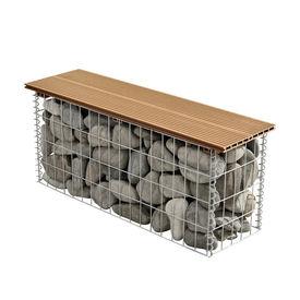 [pro.tec]® Gabion banca HTGB-6731 - decoratie cos piatra 100x30x45cm, metal/WPC, maro deschis