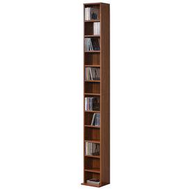 Raft pentru CD AANF-6413, 175 x 20 x 20 cm, PAL melaminat, culoarea lemnului de nuc, cu 12 suprafete depozitare