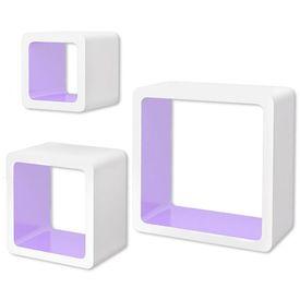 Rafturi cub suspendate, depozitare cărți/DVD, 3 buc, MDF alb-violet