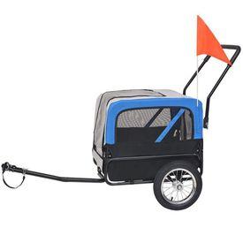 Remorcă bicicletă & cărucior jogging câini, gri și albastru