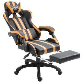 Scaun pentru jocuri cu suport de picioare, portocaliu, PU