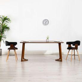 Scaune de bucătărie, 2 buc., negru, piele ecologică lemn curbat