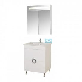 Set Baza, lavoar baie GN0811 cu sertare si oglinda GN0301 - 60 cm alb