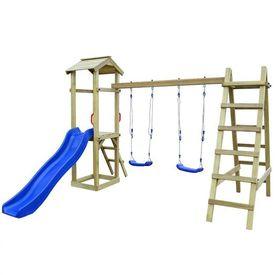 Set de joacă tobogan scări leagăne 286x237x218 cm lemn pin FSC