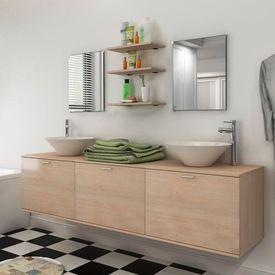 Set mobilier baie din opt piese cu chiuvetă inclusă, bej
