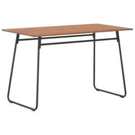Set mobilier bucătărie, 5 piese, maro, placaj solid & oțel