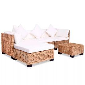 Set mobilier cu canapea 14 piese, culoare naturală, ratan