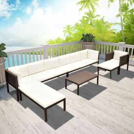 Set mobilier de grădină 24 piese, poliratan, maro