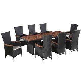Set mobilier exterior, 17 piese, poliratan și lemn masiv acacia